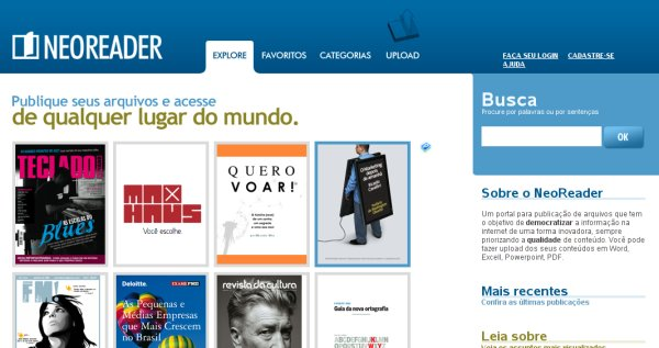 Tela do Site do NeoReader